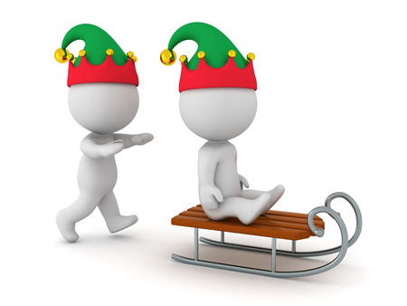 3d character: 3D character with elf hat pushing another 3D character on a sled. Isolated on white background. Stock Photo