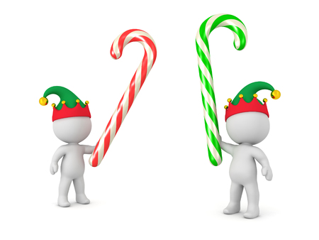 multicolored: Two 3D characters with elf hats fighting with large colorful candy canes. Isolated on white background.