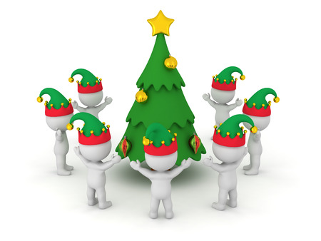 arms raised: 3D characters wearing elf hats standing with arms raised around a decorated cartoonish Christmas tree. Isolated on white background. Stock Photo