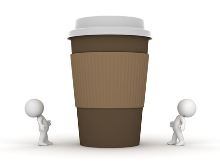 large: Two small 3D characters looking up at a large take-away coffee cup. Isolated on white background.