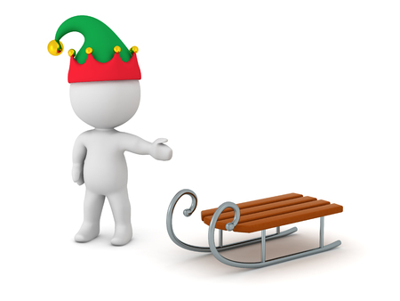 ski slope: 3D character with elf hat showing a sled. Isolated on white background.