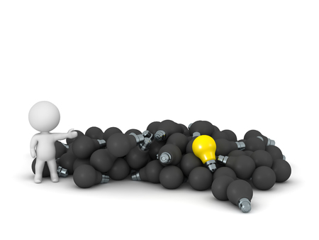 lit: 3D character showing pile of dark light bulbs and one lit yellow light bulb. Isolated on white background.