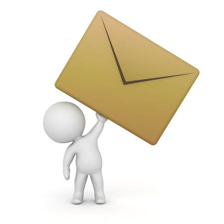 unsolicited: 3D character holding a very large mail envelope. Isolated on white background.