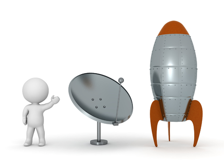 booster: 3D character showing a parabolic antenna dish and a cartoonish style rocket. Isolated on white background.