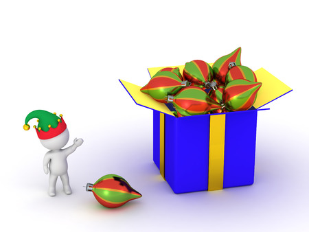 wrap wrapped: 3D character wearing elf hat showing a large open gift box, with many colorful globes inside. Isolated on white.