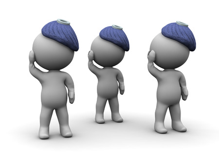 healthy people: 3D characters are ill and have ice bags on their heads. Isolated on white background.
