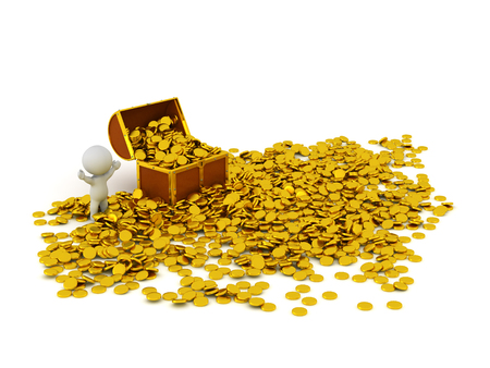 treasure chest: 3D treasure chest with many golden coins inside it and scattered around it, and a 3D character cheering. Isolated on white background.