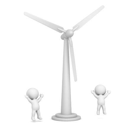gust: 3D characters jumping up, happy about wind turbine. Isolated on white background.
