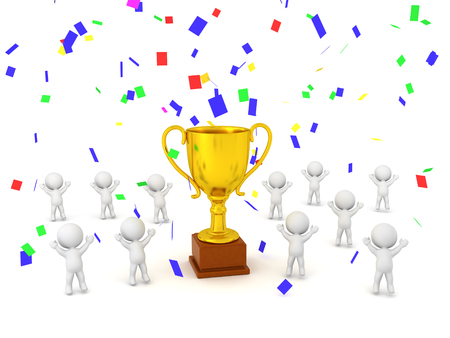Several 3D characters are cheering jumping up around a large golden trophy. Colorful confetti is falling. Isolated on white background.