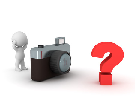 questioning: 3D character has no ideas for photos. Isolated on white background. Stock Photo