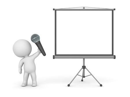 3D character public speaker, with microphone and projector screen. Isolated on white background. Stock Photo