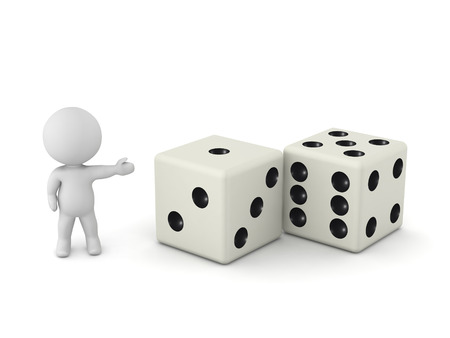 wager: 3D character showing two dice. Isolated on white background. Stock Photo