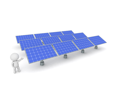 service man: 3D character showing an array of solar panels. Isolated on white background. Stock Photo