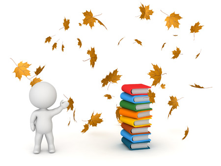 workbook: 3D character showing stack of colorful books and autumn leaves falling. Back to school concept. Isolated on white background.