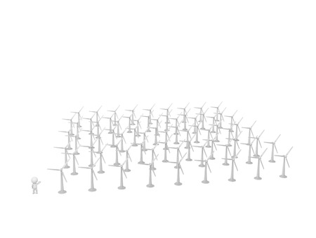 kilowatt: 3D character showing very many wind turbines. Isolated on white background.