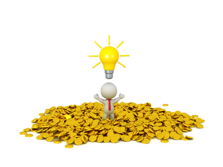 jack pot: 3d character wearing red tie standing in a pile of golden coins, with a light bulb idea above his head. Isolated on white background.