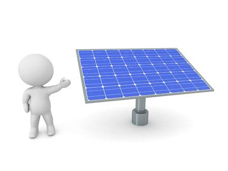 Personnage en 3D montrant un panneau solaire. Isolé sur fond blanc. Banque d'images - 49828882