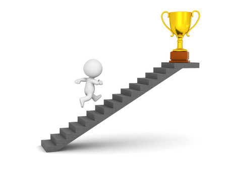 recompense: 3D character running up a set of stairs to get a large golden trophy. Isolated on white background.