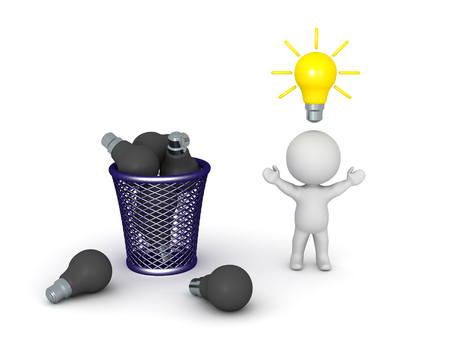 cesto basura: 3D character with a good, lit, light bulb idea above his head, and a trash basket filled with dark light bulbs. Isolated on white background. Foto de archivo