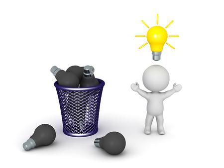 cesto basura: personaje 3D con una buena, iluminado, idea de la bombilla sobre su cabeza, y una cesta de basura lleno de bombillas oscuras. Aislado en el fondo blanco.