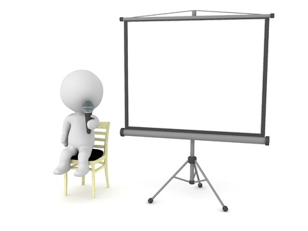 projector screen: 3D character public speaker with microphone, sitting in a chair, with a large empty projector screen next to him. Isolated on white background.
