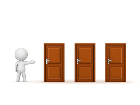 questioning: 3D character showing three closed wooden doors. Isolated on white background. Stock Photo
