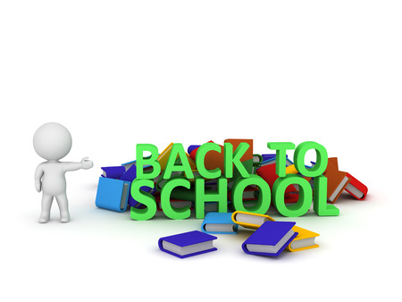 school class: 3D character showing text spelling Back To School, and a pile of colorful books. Isolated on white background. Stock Photo