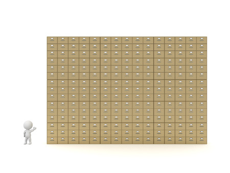 archiving: 3D character showing many archiving cabinet drawers. Isolated on white background.