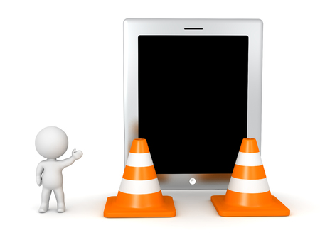 defective: 3D character showing a large tablet and two large orange road cones. Isolated on white background.