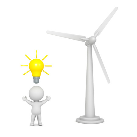 gust: 3D character with light bulb idea, and large wind turbine. Isolated on white background. Stock Photo