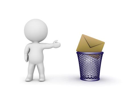 unsolicited: 3D character showing a mail envelope thrown in a trash basket. Isolated on white background.