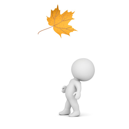 looks: 3D character looking up at a falling autumn leaf. Isolated on white background.