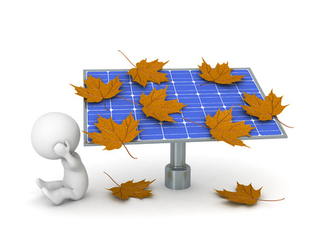 kilowatt: A 3D character is sitting upset next to a solar panel covered with autumn leaves. Isolated on white background.