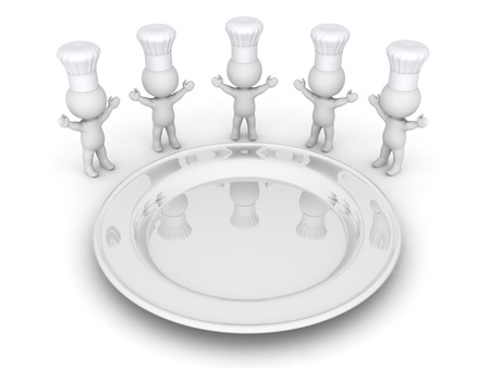 eats: 3D characters with chefs hats, and a very large white plate. Isolated on white background.