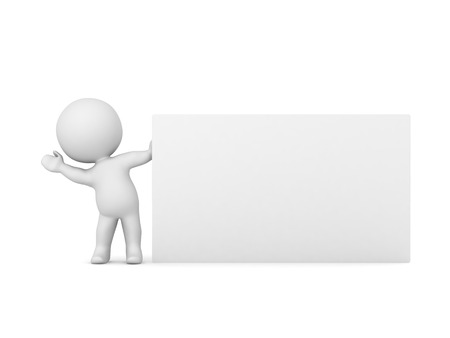 3D character waving from behind a large empty business card. Isolated on white background.