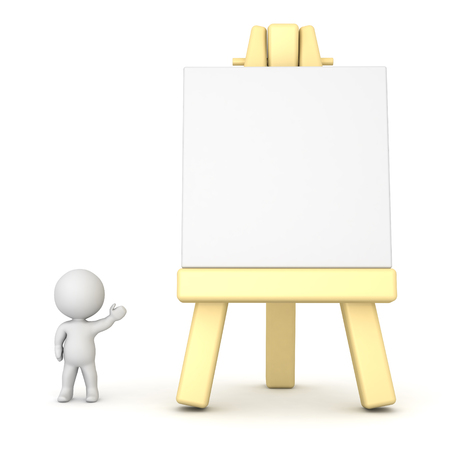 artsy: Small 3D character showing large artsy easel. Isolated on white background. Stock Photo