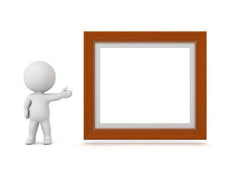 acknowledgment: 3D character showing a large empty frame. Isolated on white background. Stock Photo