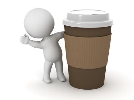 takeaway: 3D character waving from behind a large take-away coffee cup. Isolated on white background.