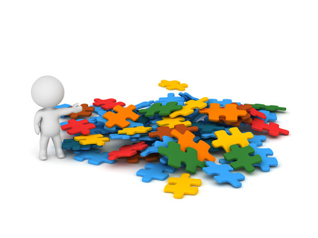 ponder: 3D character showing a pile of colorful puzzle pieces. Isolated on white background. Stock Photo
