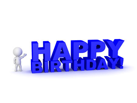 3D character showing large 3D text reading Happy Birthday! Isolated on white background. Banque d'images