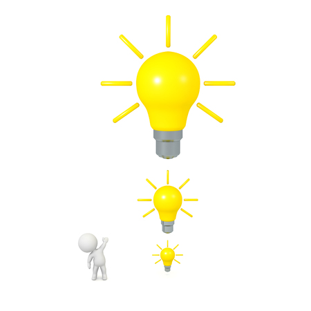 intention: 3D character showing small and large light bulb ideas. Isolated on white background.