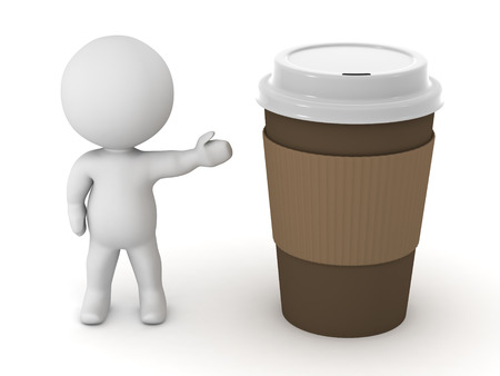 takeaway: 3D character showing a large take-away coffee cup. Isolated on white background.