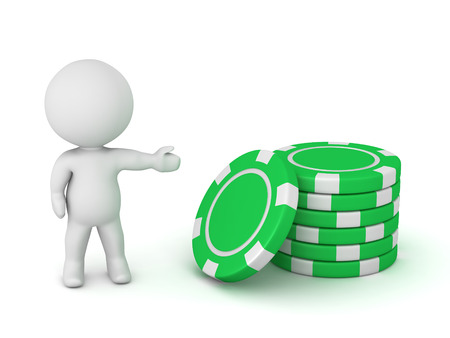 speculate: 3D character showing a small stack of poker chips. Isolated on white background. Stock Photo