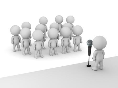 他の多くの 3 D キャラクターの前にステージ上に立っているマイクの 3 D キャラクター パブリック スピーカー。白い背景上に分離。