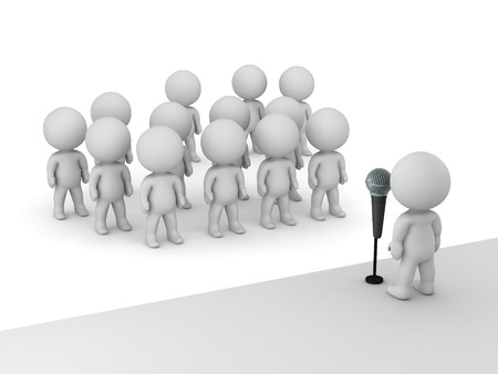 3D character public speaker with microphone standing on a stage in front of many other 3D characters. Isolated on white background.