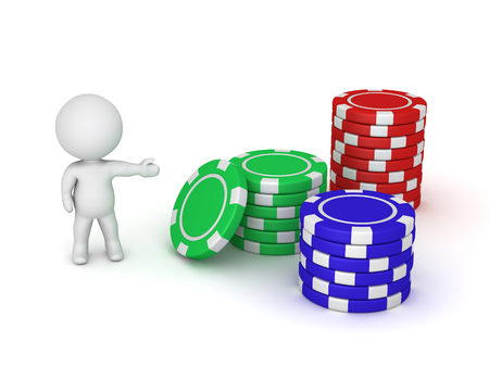 3D karakter met drie stapels van kleurrijke poker chips. Geïsoleerd op een witte achtergrond.