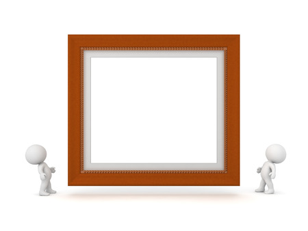 highschool: Two small 3D characters looking up at a large decorated diploma frame. Isolated on white background. Stock Photo