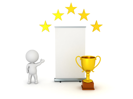 it is isolated: 3D character showing a large empty rollup poster with a golden trophy and some golden stars above it. Isolated on white background.