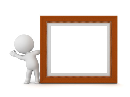 credentials: 3D character waving from behind a large empty diploma frame. Isolated on white background. Stock Photo