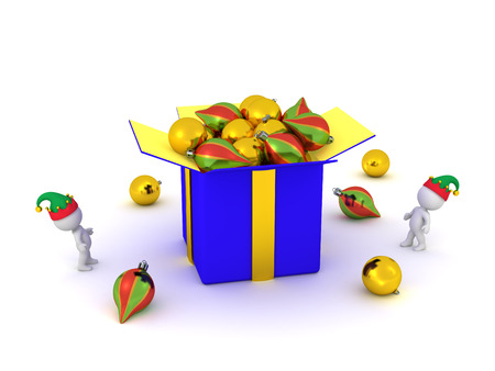 goody: 3D characters looking up at large gift box filled with colorful decorative globes. Isolated on white background.